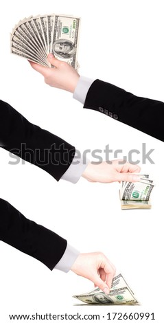 Businessman counts money in hands american hundred dollar bills isolated - stock photo