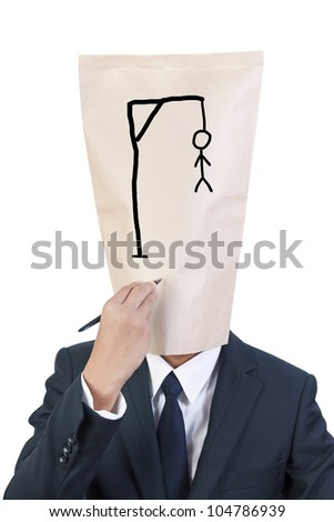 Businessman cover head write hangman on his face