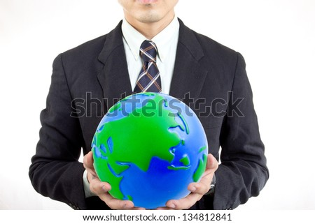 Businessman cover the world with concept save your business - stock photo