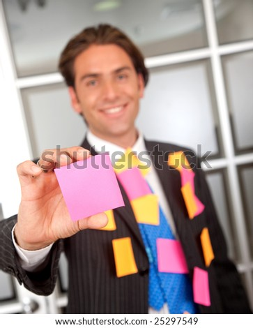 businessman cover with post its at an office - stock photo