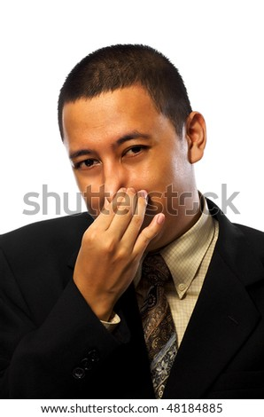 Businessman covering his nose isolated on white background - stock photo