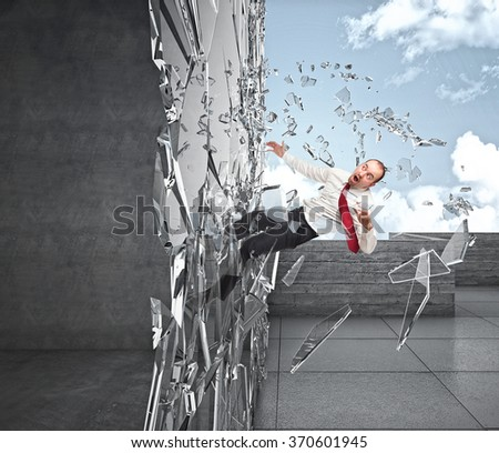 businessman crash in 3d window