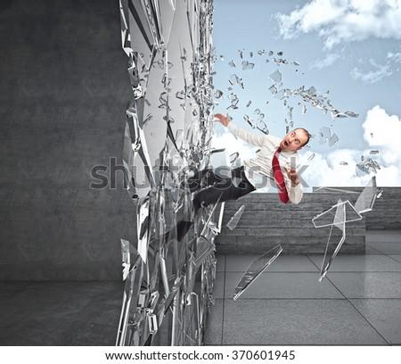 businessman crash in 3d window - stock photo