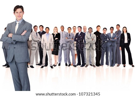 Businessman crossing his arms against a white background - stock photo