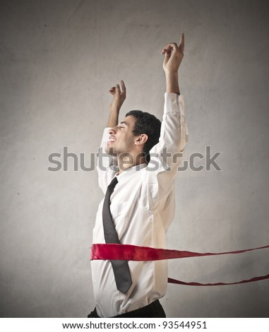 Businessman crossing the line - stock photo