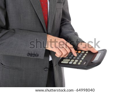 Businessman crunching numbers. All on white background. - stock photo
