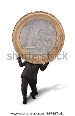 Businessman crushed by euro coin - stock photo