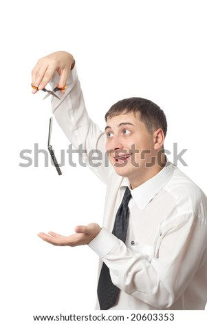 businessman cut off invisible thread, isolated on white half-length portrait