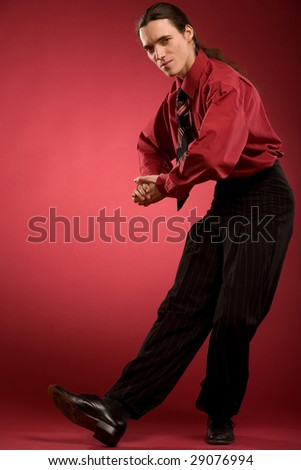 Businessman dance and applauding - stock photo