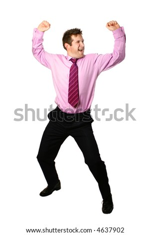Businessman dancing for joy celebrating success for a job well done, isolated. - stock photo