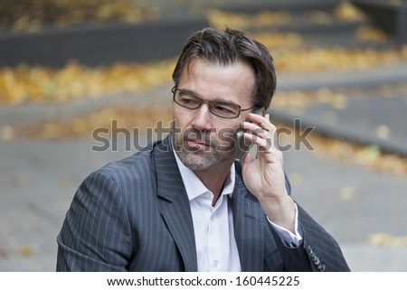Businessman Dealing On The Phone  - stock photo