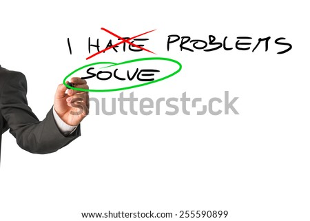 Businessman deciding to face problems and solve them instead of hating them. Conceptual of will power, determination and success. - stock photo