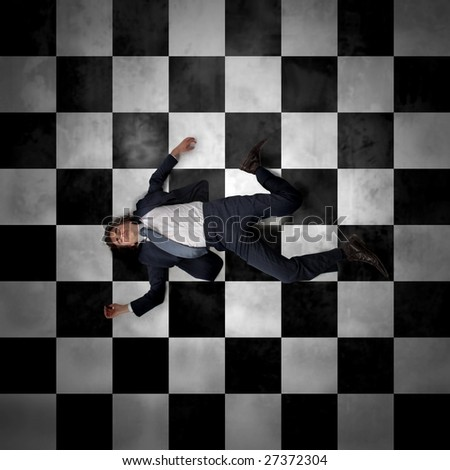 businessman died on the floor - stock photo