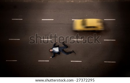 businessman died on the street after a suicide - stock photo
