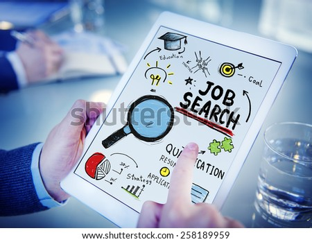 Businessman Digital Devices Job Search Online Concept - stock photo