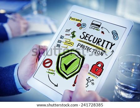 Businessman Digital Devices Security Protection Firewall Concept - stock photo