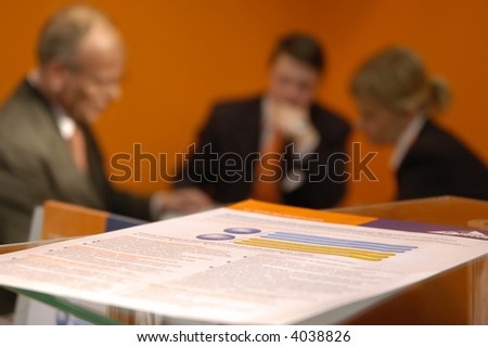 businessman discussion and documents on the table - stock photo