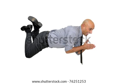 Businessman diving isolated in white - stock photo