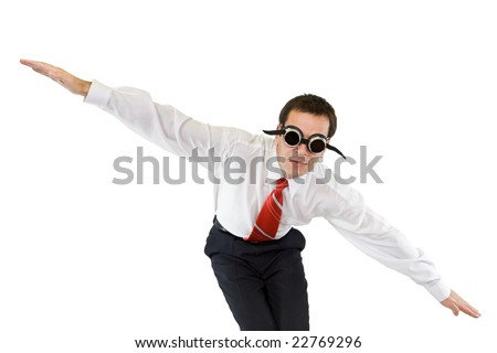 Businessman diving or falling down - isolated - stock photo