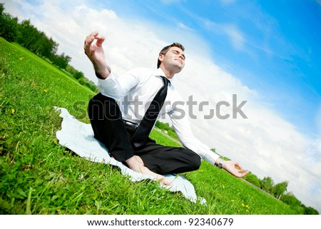 businessman do yoga exercise outdoor