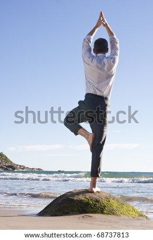 Businessman doing equilibration exercise on a rock at the beach - stock photo