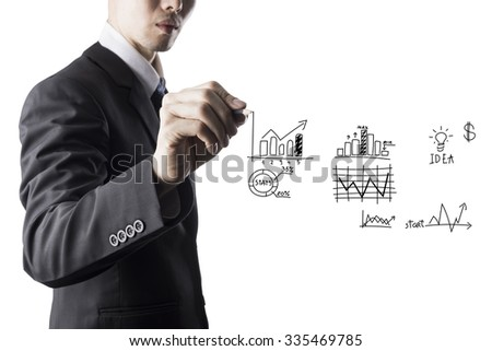 Businessman Draw Grape on Transparent Screen