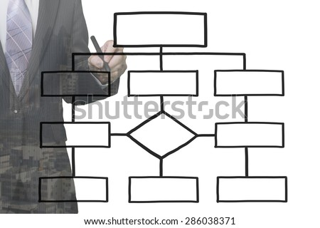 Businessman draw the blank organization chart, on white background - stock photo