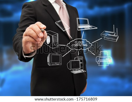 Businessman drawing a Cloud Computing. - stock photo