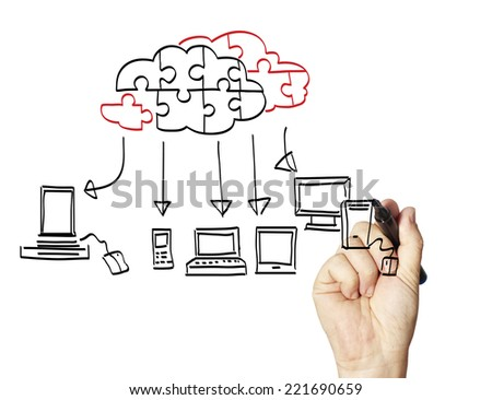 Businessman drawing a Cloud Computing  on the whiteboard  - stock photo