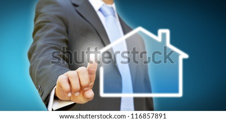 Businessman drawing a company - stock photo