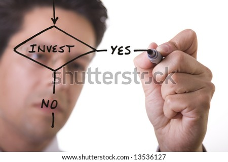 businessman drawing a flowchart on a white board (focus on the draw and point of the pen) - stock photo