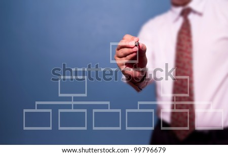 businessman drawing a flowchart on a whiteboard (selective focus) - stock photo
