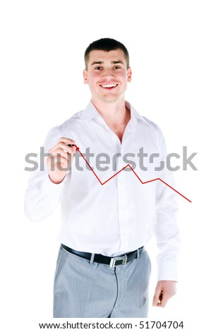Businessman drawing a graph on white background - stock photo