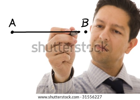businessman drawing a line from point A to point B (selective focus) - stock photo