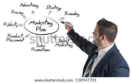 businessman drawing a marketing plan on a whiteboard