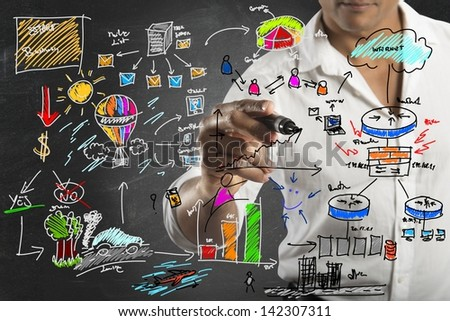 Businessman drawing a new business project - stock photo