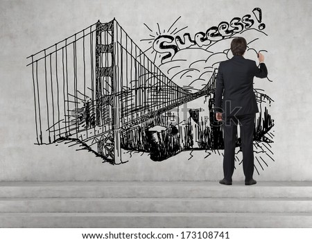 Businessman drawing a picture of success 2 - stock photo
