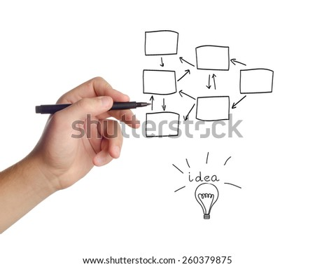 businessman drawing a process chart, isolated on white background  - stock photo