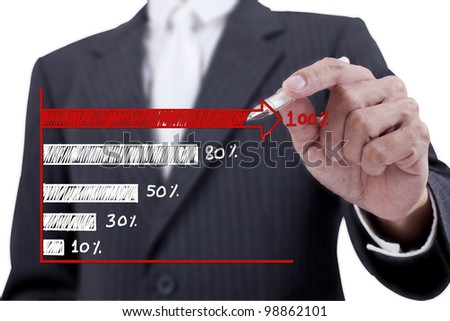 Businessman drawing a red chart - stock photo