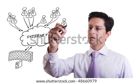 businessman drawing a security plan for a firewall system (selective focus)