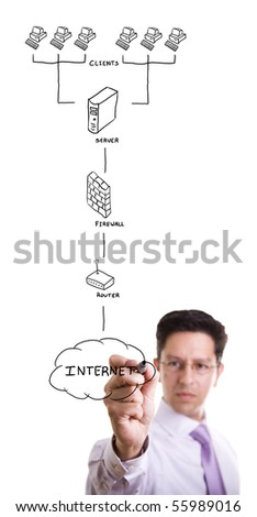 businessman drawing a security plan for a firewall system (selective focus) - stock photo