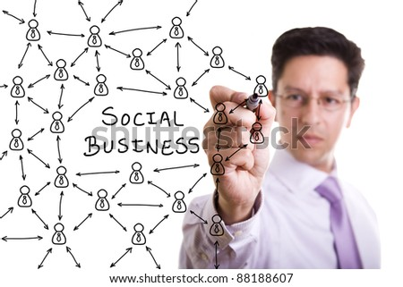 businessman drawing a social business network scheme on a whiteboard (selective focus) - stock photo