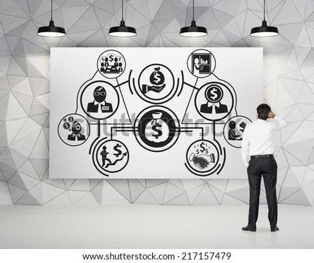 Businessman drawing about business optimization scheme.  - stock photo