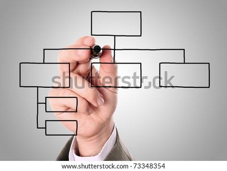 businessman drawing an organization chart on a white board - stock photo