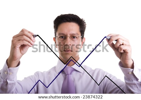 businessman drawing an uncertainty market evolution (selective focus) - stock photo