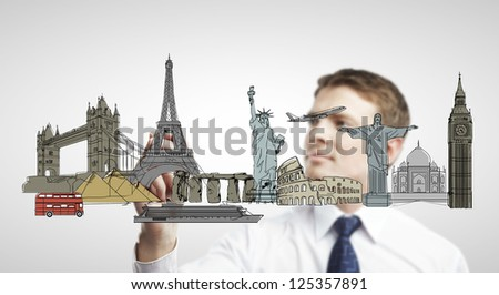 businessman drawing architectural buildings. isolated