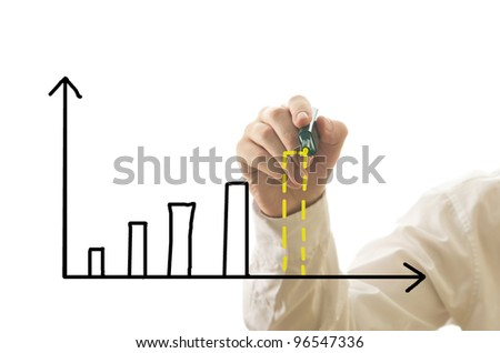 Businessman drawing bar graph of income with future prediction isolated on white - stock photo
