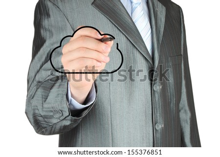 Businessman drawing black cloud on white background, cloud computing concept  - stock photo