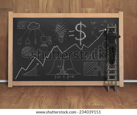 businessman drawing business concept doodles on black chalkboard with wooden stepladder, teak wooden wall and floor background - stock photo