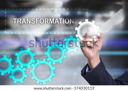 businessman drawing business concept on virtual screen. Transformation. - stock photo